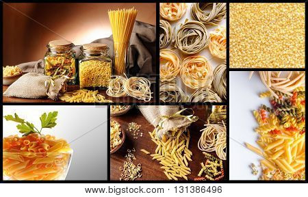 Collage With Various Types Of Uncooked Pasta