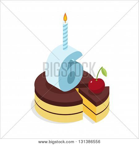 6 Years Birthday Cake Isometrics. Number Six With Candle. Celebration Of Anniversary Pie. Piece Of F