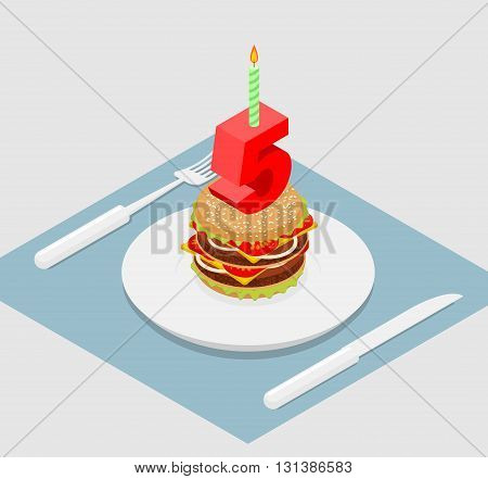 5 Years Birthday Burger. Hamburger And Candle Isometrics. Number Five With Candle. Fast Food Anniver