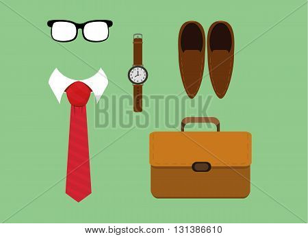 vector illustration of flat lay men fashion casual accessories tiewatchglasses shoes and briefcase. eps 10