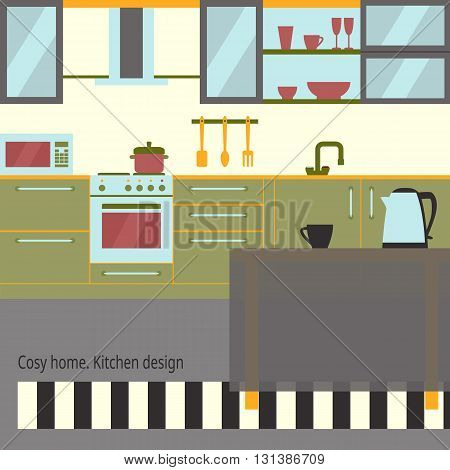 Kitchen interior design with home furniture and kithenware. Vector flat illustration. Cosy home theme.