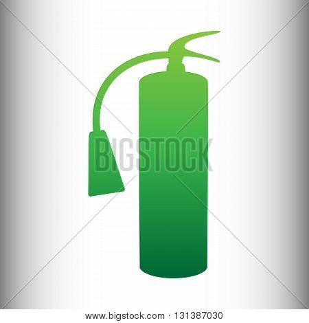 Fire extinguisher icon. Green gradient icon on gray gradient backround.