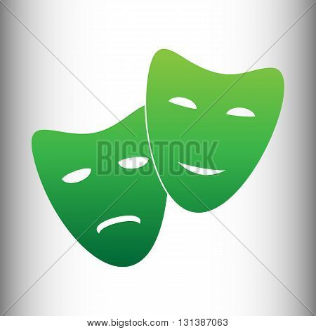 Theater icon with happy and sad masks. Green gradient icon on gray gradient backround.