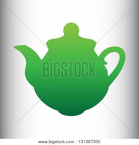 Tea maker Kitchen Icon. Green gradient icon on gray gradient backround.