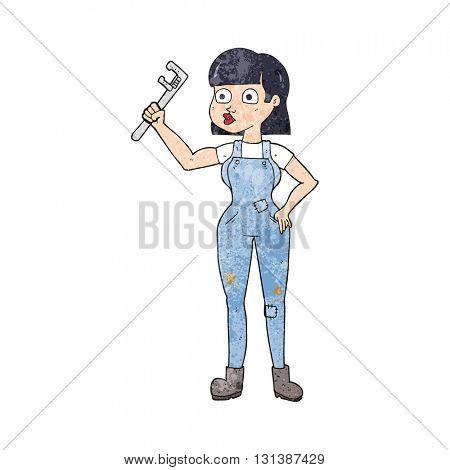 freehand textured cartoon female plumber