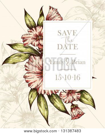 Hand drawn colorful graphic floral card. Floral botanical vector frame. Wedding invitation Invitation Save the date RSVP Reception Thank you card template with floral bouquet background