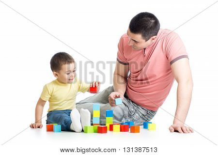 Father and child playing game together over white background