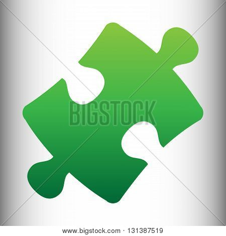 Puzzle piece flat icon. Green gradient icon on gray gradient backround.