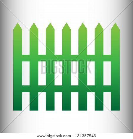 Fence simple icon. Green gradient icon on gray gradient backround.