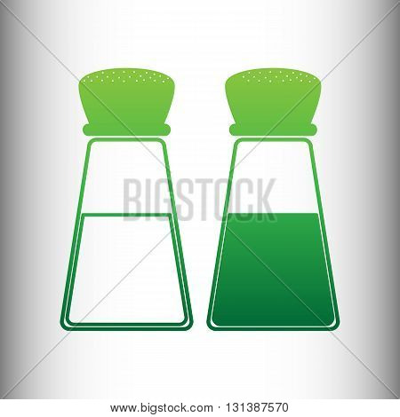 Salt and pepper sign. Green gradient icon on gray gradient backround.