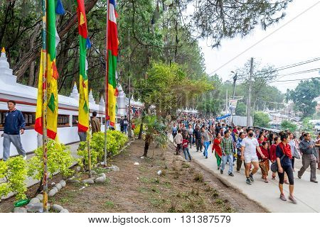 KathmanduNepal - May 21 2016 : Prayers are walking to round the Swayambhunath Stupa on Buddha Jayanti or Buddha's Birthday.
