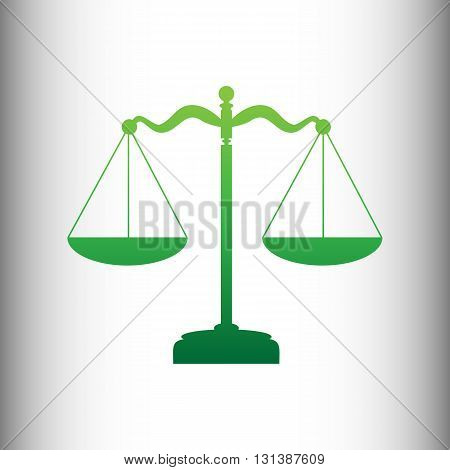 Scales balance sign. Green gradient icon on gray gradient backround.