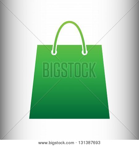 Shopping bag. Green gradient icon on gray gradient backround.