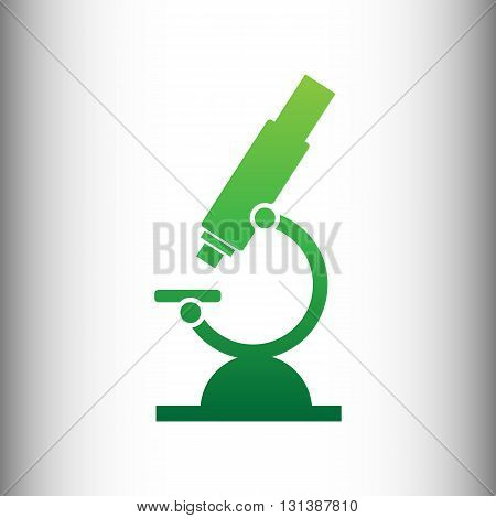 Microscope sign. Green gradient icon on gray gradient backround.