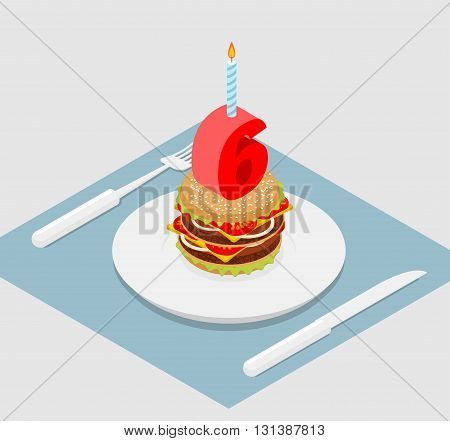 6 Years Birthday Burger. Number Six With Candle. Burger Anniversary Celebration. Festive Fast Food.