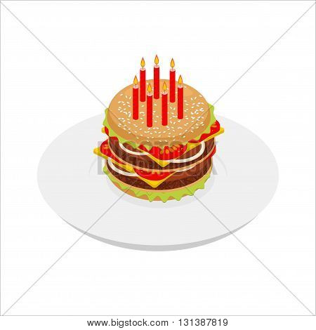 Birthday Hamburger With Candles Isometrics. Festive Fast Food. Burger For Birthday. Anniversary Meal
