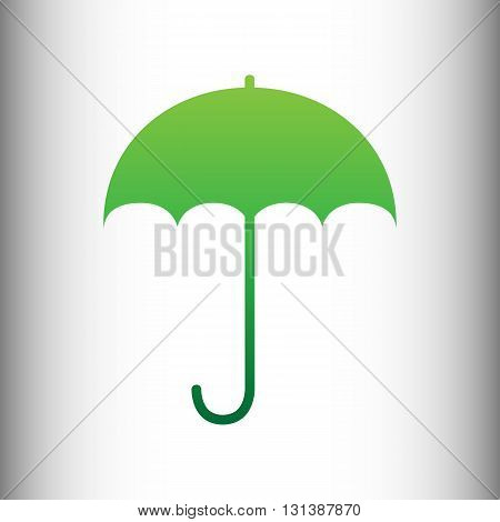 Umbrella sign icon. Rain protection symbol. Flat design style. Green gradient icon on gray gradient backround.