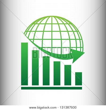 Declining graph with earth. Green gradient icon on gray gradient backround.