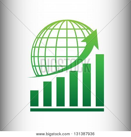 Growing graph with earth. Green gradient icon on gray gradient backround.