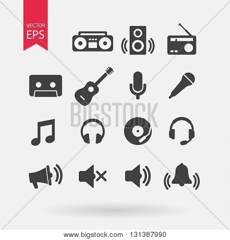 Music Icons set Vector. Flat design. Music signs isolated on white background. Audio, sound elements for design