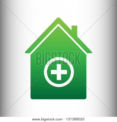 Hospital sign. Green gradient icon on gray gradient backround.