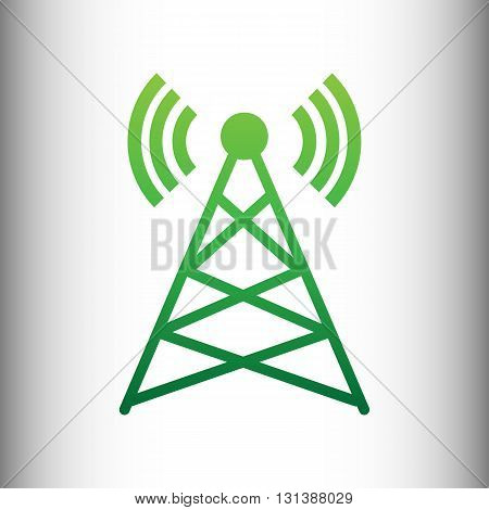 Antenna sign. Green gradient icon on gray gradient backround.