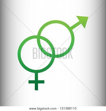 Sex symbol sign. Green gradient icon on gray gradient backround.