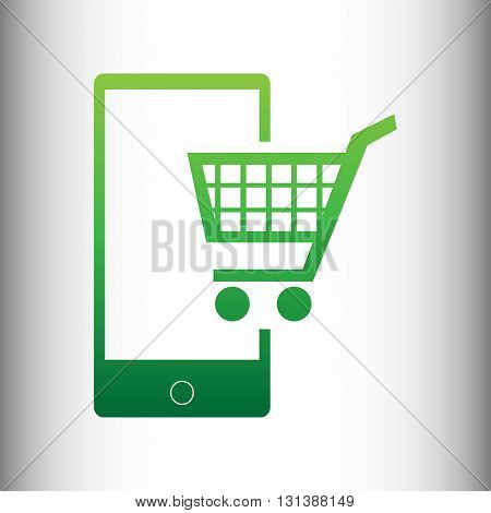 Shopping on smart phone sign. Green gradient icon on gray gradient backround.