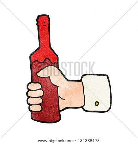 freehand textured cartoon hand holding bottle of wine