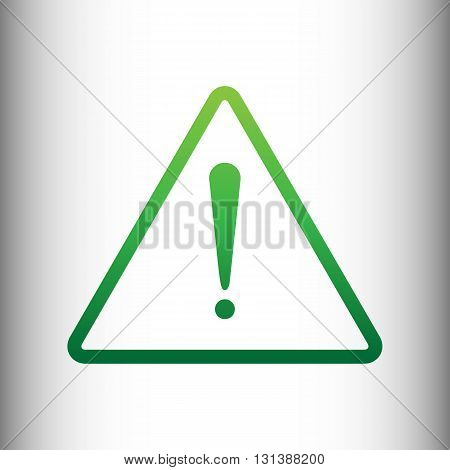 Exclamation danger sign. Flat style. Green gradient icon on gray gradient backround.