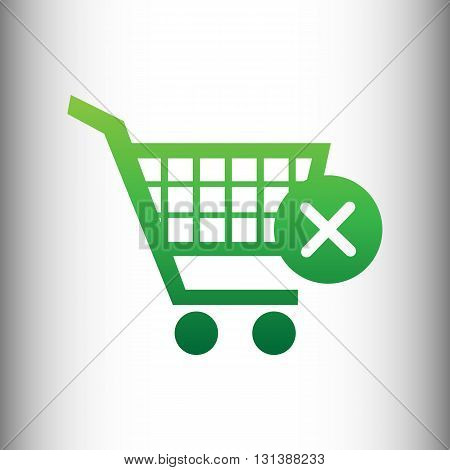 Shopping Cart and X Mark Icon, delete sign. Green gradient icon on gray gradient backround.