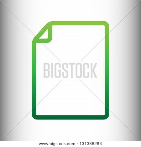 Document sign. Green gradient icon on gray gradient backround.