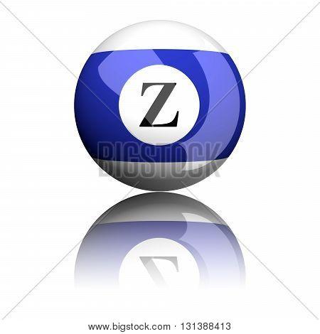 Alphabet Letter Z Sphere 3D Rendering