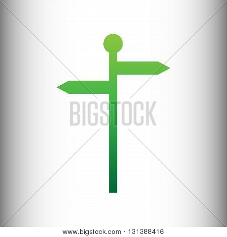 Direction road sign. Green gradient icon on gray gradient backround.