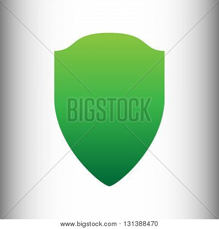 Shield sign. Green gradient icon on gray gradient backround.