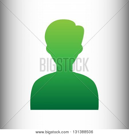 User avatar. Anonymous sign. Green gradient icon on gray gradient backround.