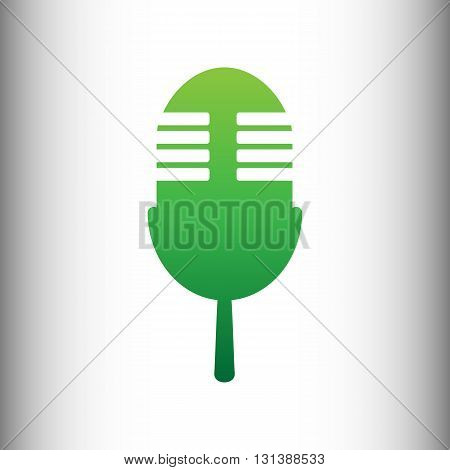 Retro microphone sign. Green gradient icon on gray gradient backround.