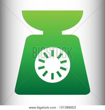 Kitchen scales icon. Green gradient icon on gray gradient backround.