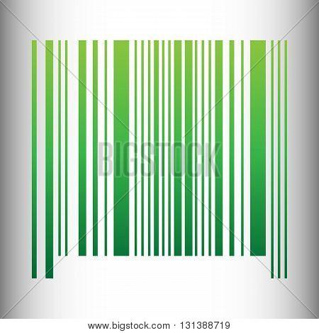 Bar code icon. Green gradient icon on gray gradient backround.
