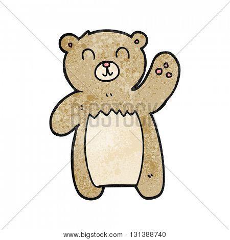 freehand textured cartoon teddy bear