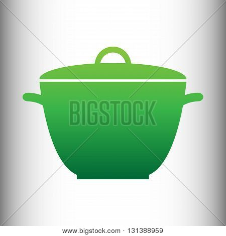 Saucepan simple Icon. Green gradient icon on gray gradient backround.
