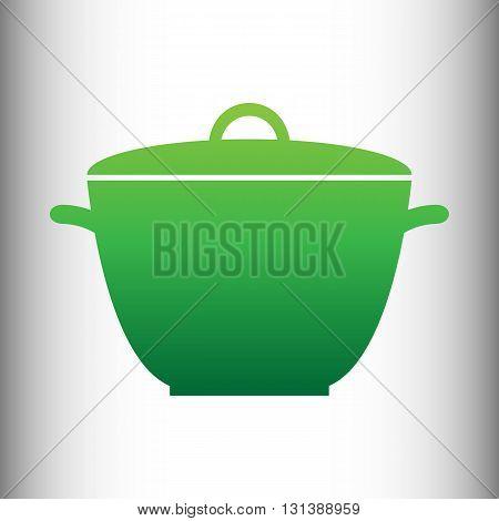 Saucepan simple Icon. Green gradient icon on gray gradient backround.