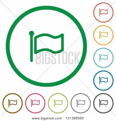 Set of flag color round outlined flat icons on white background