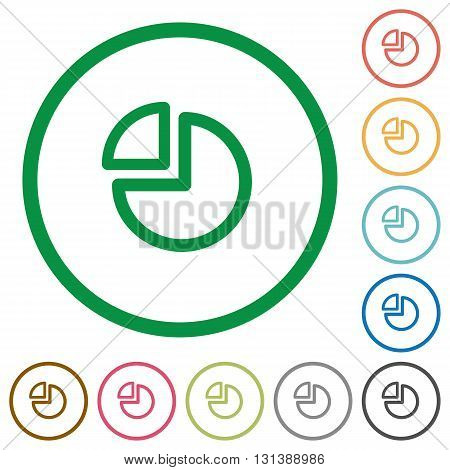 Set of pie chart color round outlined flat icons on white background