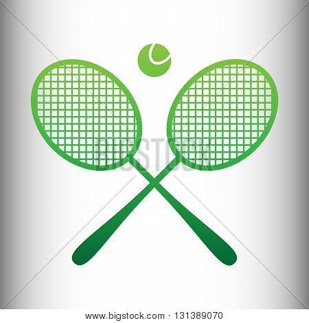 Tennis racket icon. Green gradient icon on gray gradient backround.