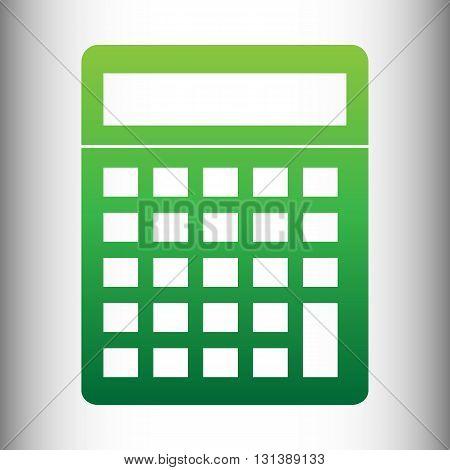 Calculator simple icon. Green gradient icon on gray gradient backround.