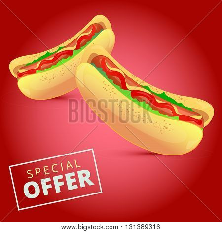 Tasty hotdogs with ketchup and mustard and salad on a dark pink background with special offer sign
