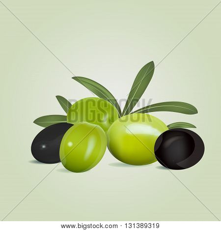 Black and green olives with leaves on olive colored background