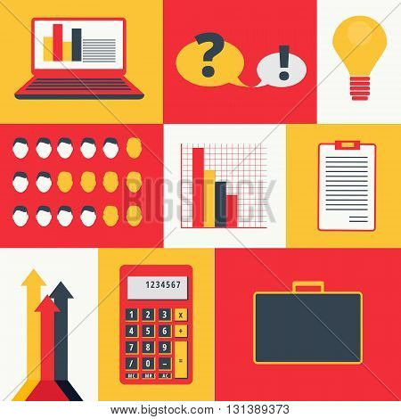 Set of colored business infographics elements and icons