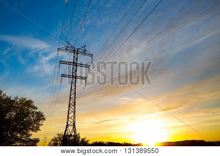 High Voltage Post. High-voltage Tower Sky Background.